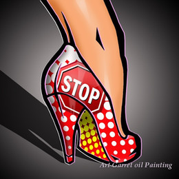 $enCountryForm.capitalKeyWord Canada - wholesale Hand painted Modern Pop art oil paintings on canvas Abstract Modern canvas wall art girls shoe for home decor