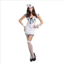 Barato Liga Lingerie Branca-New White Sexy Sailor Costume Cosplay Lingerie Bowknot Mulheres Vestido Com Garters Uniform Temptation Club Performance Vestuário Hot Sale