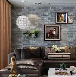 PVC Classic 3D Effect Modern Wallpaper Faux Brick Wall Paper Vintage Grey Roll For Restaurant Stores And Live Room