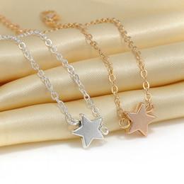 Discount wholesale pentagram bracelets - Wholesale-New Fashion Five-pointed Start Pentagram Ladies Bracelet Charm Rose Gold Plated Jewelry Bracelets Women Bracel