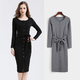 collar neck design for women UK - New Design Round Collar Women Clothes Single-Breasted Pure Color Fashion joker render long casual dresses for women Hot Sale Autumn Dress