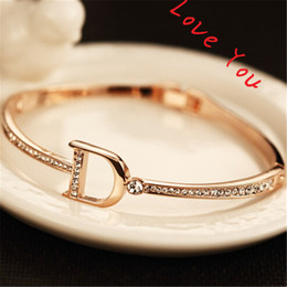 Discount korean style bracelets - Korean Style Zircon Bracelets & Bangle for Women Gold Plated Letter D Charms Bangles Jewelry Fashion Accessories