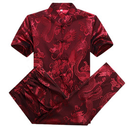 Robe À Manches Courtes Pas Cher-Shirt gros-Silk Dress Pant Costumes Hommes Red Dragon Shirts Summer chinois Hommes Costumes Mandarin Hauts Collar Plus Size Kung Fu Vêtements