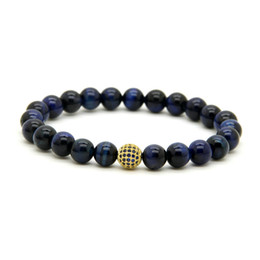 Discount tiger eyes bracelet - 10pcs lot 8mm A Grade Blue Tiger Eye Stone Beads Bracelets Micro Paved Blue Cz Ball Beaded Jewelry Gift For Friend And F