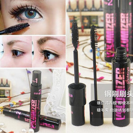 Barato Rímel De Fibra Longa Chicote-2in1 Volume Mascara Long Curling Makeup Eyelash Black Waterproof Fiber Mascara Marca Eye Lashes Cosmetic DHL Frete Grátis