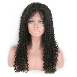 "cheap afro full lace wigs NZ - Brazilian Afro Kinky Curly Human Hair Wigs #1b natural black 130% Swiss Lace Front Wigs 10""-30"" Cheap Glueless Wig For Black Women"
