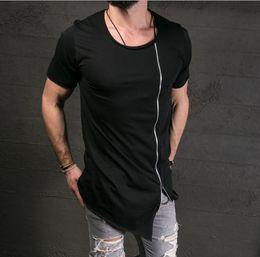 48091b97f 2017 oblique long t shirt Men Hip Hop Black t-shirt Longline Extra Long tee  shirt for male Zipper Tops Over Size Streetwear tshirt