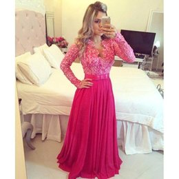 Long Arc En Mousseline De Soie Pas Cher-Robes de bal à manches longues V Neck Red Beads Sequins Bow Knot Sashes A Line Robe en mousseline de soie Robes de soirée en taille Plus ABO8000