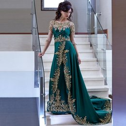 Gold Beaded Applique Canada - Evening Dresses 2017 New Sexy Arabic Jewel Neck Gold Lace Appliques Crystal Beaded Dark Green Formal Dubai Abaya Cheap Party Dress Prom Gown