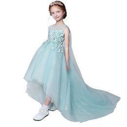 Chemise Châles Filles Pas Cher-SSYFashion 2017 New Fresh Flower Girl Robes Sweet Mint Green Lace Flower Beading avec Shawl Children Princess Prom Party Gowns