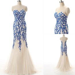 Black Evening Dresses For Ladies Canada - Plus Size Formal Dresses Mermaid Style Long Prom Gowns Blue Appliques Lace Up Evening Party Dress For Lady