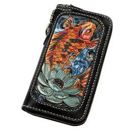 leather carved wallets UK - Men Genuine Leather Wallets Carving Copper Lotus Coin Carp Zipper Bag Purses Women Long Clutch Vegetable Tanned Leather Wallet Q0990