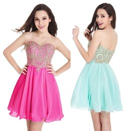 Wholesale Cheap cores fúcsia Chiffon Homecoming vestidos de Ouro Lace Applique Sweetheart curto vestidos de cocktail Meninas Meninas Vestidos de festa CPS406