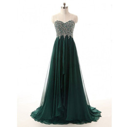 Barato Vestidos Vintage Superiores-Vintage Elegant Dark Green Evening Dress Sweetheart sem mangas Caçador Verde Beaded Top Custom Made Prom Party Vestidos Longo Formal Wear