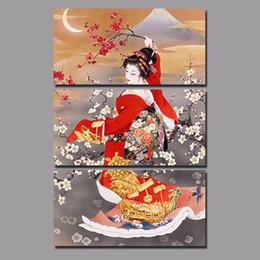 $enCountryForm.capitalKeyWord Australia - Big Size Japan Style Red Kimono lady Picture decoration Japanese Plum Flowers Canvas Painting wall Art home decor unframed