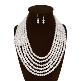 China Fashion Evening Gowns UK - New Jewelry Sets Simulated Pearl Female Fashion Evening Gown With Jewelry Cavicle Necklace Earrings Luxury Suite
