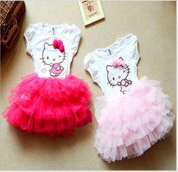 e25830192 2018 New Baby Girls Cartoon Hello Kitty Dress Children Short Sleeve Tutu  Skirt Kids Lace Gauze Princess Dresses Cute Girl Summer Dress
