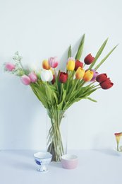 Tulip decor online shopping - Real Touch Tulips New PU Tulip Flowers About CM quot Length Artificial Flowers Wedding Home Decor Color Option