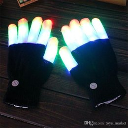 Glow Costumes Canada - 2pcs pair Party LED Gloves Rave Light Flashing Finger Lighting Glow Mittens Magic Black Gloves Party Accessory