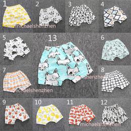 13 Дизайн детей INS Lemon pp брюки DHL 2016 малыш-малыш мальчик девочка в лисицах животных лиса колесики геометрические фигурные штаны шорты поножи B001