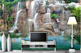 Vintage Woven Wallpaper Canada - 3d wallpaper custom photo non-woven mural wall sticker Mountain waterfalls carp painting picture 3d wall room murals wallpaper