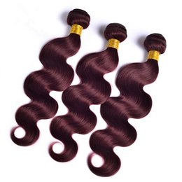 $enCountryForm.capitalKeyWord Canada - Virgin Malaysian 99J Burgundy Human Hair Wefts Extensions Body Wave Wavy Virgin Malaysian Human Hair Weaves Bundles 3Pcs Lot DHL Free