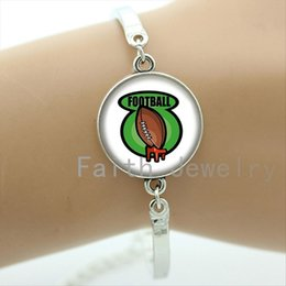 Art Easter Canada - Handmade creative football art picture glass cabochon bracelet rugby jewelry exquisite popular football sport bracelets NF078