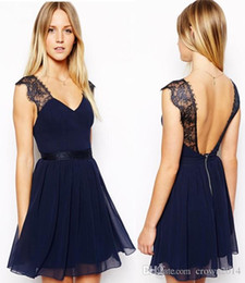 Discount cocktail dress sample 2021 Cheap Summer Lace Evening Dresses Chiffon Navy Blue Sexy Sheer Backless Real Sample Short Lace Prom Gowns Cocktail Party Dresses Cheap