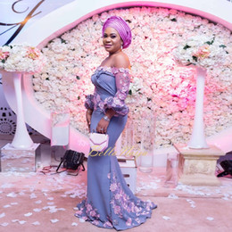 Discount aso ebi style wedding dress - Off Shoulder Wedding Guest Dress Aso-Ebi Style Floral Applique Long Sleeves Pearls Bridesmaids Dresses Elegant Satin Mer