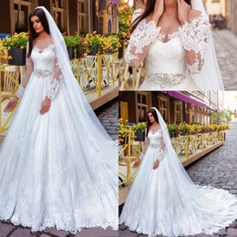 line beaded bodice wedding dresses 2019 - 2016 New Cheap Modern A Line Wedding Dresses Scoop Neck Long Sleeves Lace Appliques Beaded Tulle Court Train Plus Size F