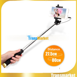 Wholesale 2016 New Audio cable Integrated Monopod wired Selfie Stick Extendable Handheld Built in Shutter and Clip for IOS iPhone Android Smart phoneU