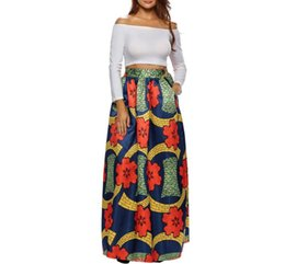 0043d7f4e7c African Stretch Elastic Autumn Bohemian Maxi Skirt Floral Print Spring High Waist  Pleated Floor Length Long Skirts Women