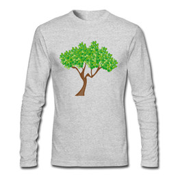 customized printed t shirts UK - Customized Casual Man's T Shirt Green Tree Season Design Shirts Long Sleeve Tee Shirt Free Soft Clothes