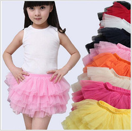 white tutu costume Canada - Baby Girl dance tutu skirt children tulle tutus layered skirt princess party costumes Free shipping 10pcs lot