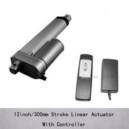 dc controllers NZ - 12inch 300mm stroke electric dc 24v linear actuator for windows 1000n 100kgs load and 10mm s speed with 24v outlet remote controller