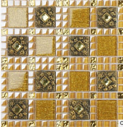 European Gold Crystal Glass Mosaic Background Wall Tiles Living Room TV Wall  Puzzle Bathroom D 8661 Glass Gold Mosaic Tile On Sale