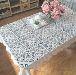 Great New Crochet Design~ American Country Living Vintage Style Chic Floral  Crochet Pattern Tablecloth, 120x180cm Retangular Table Cloth