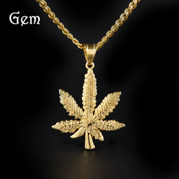 ff3dd78ee2 Stainless Steel hip hop Jewelry Men's Fashion Pendant Necklaces Maple Leaf  Charm Luxury Party Accessories Wholesale