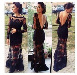 Barato Vestido Longo Barato Por Atacado-Spring Sexy Backless Mermaid Evening Dresses 2017 Illusion Bodice mangas compridas Lace Prom Dress Vestidos formais Cheap Wholesale