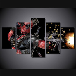 $enCountryForm.capitalKeyWord Canada - 5Pcs With Framed HD Printed deadpool mask gun automatic Painting Canvas Print room decor print poster picture canvas paintings
