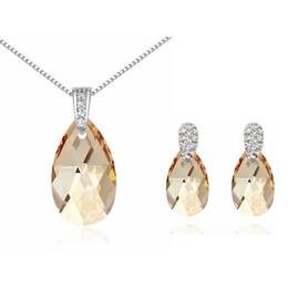 Genuine Swarovski Jewelry UK - Genuine Crystal Necklace Earrings Water Drop Crystal From Swarovski Elements Women Jewelry Sets 2017 New Fashion Bijouterie 13613 5814