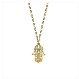$enCountryForm.capitalKeyWord NZ - Fashion Punk 18K Gold Vintage Silver Plated Turquoise Retro Hamsa Fatima Hand Pendants Chain Necklace Jewelry For Women And Men