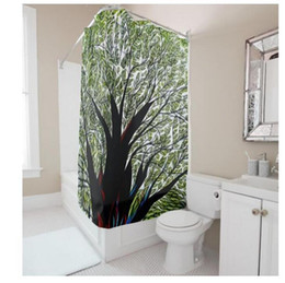 shower curtain trees NZ - Customs 36 48 60 66 72 80 (W) x 72 (H) Inch Shower Curtain Creative Green Tree Waterproof Polyester Fabric Diy Shower Curtain