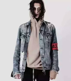 Armband Jacket Canada - TOP Spot red armband four two four 424 ripped hole distressed lt blue denim jacket streetwear urban clothing