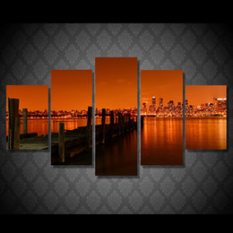 posters canvas prints Australia - 5 Pcs Set Framed Printed last call hudson river Painting Canvas Print room decor print poster picture canvas Free shipping ny-4532