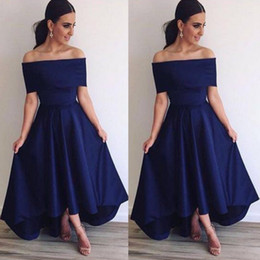 Salut Les Toiles Orange Demoiselle D'honneur Pas Cher-Robes demoiselle d'honneur 2016 Royal Blue Off Shoulder A Line Backless Hi Lo Style Robes de bal simples Robes de soirée formelles Soirée BA3692