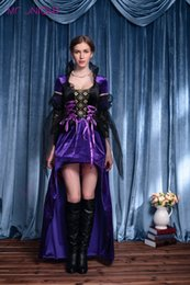 Costumes En Gros Taille Reine Pas Cher-Grossiste-2016 New Adult Femmes Sexy Purple Halloween Party Witch Reine Costumes Costume Fancy Cosplay Long Robes Taille M