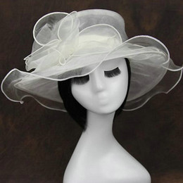 $enCountryForm.capitalKeyWord Canada - Wide Brim Hats for Women Kentucky Derby Hat Fashion Church Wedding Bridal Organza Dress Cap Ladies women's summer outdoor beach sun Caps