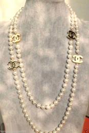 2016 chaud acheter perle bracelet jade anneau boucle d'oreille collier pendentif NOUVEAU Top long belle 8mm blanc collier de perles de coquille 68