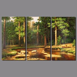 $enCountryForm.capitalKeyWord Canada - 3 pcs Europe style forest tree Landscape living room decoration river canvas painting printed wall hanging home decor unframed